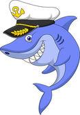 Desenho de capitão de tubarão — Vetor de Stock