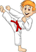 Boy cartoon doing martial art — Stock Vector