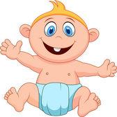 Dos desenhos animados do bebê menino — Vetor de Stock