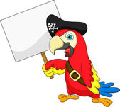 Parrot pirate cartoon with blank sign — Stock Vector