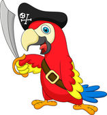 Cute parrot pirate cartoon — Stock Vector