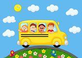 School Bus With Happy Children cartoon — Stock Vector