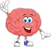 Cute brain cartoon character pointing — Stock Vector