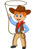 Cowboy kid cartoon twirling a lasso — Stock Vector