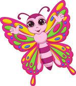 Cartone animato carino farfalla — Vettoriale Stock