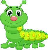 Cute green caterpillar cartoon — Stock Vector