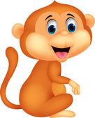 Roztomilý opice kreslený sezení — Stock vektor
