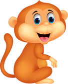Sevimli maymun çizgi film oturma — Stok Vektör