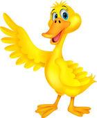 Cute duck cartoon waving — Stock Vector