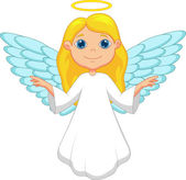 Little cute flying angel isolated on white. — Stock Vector
