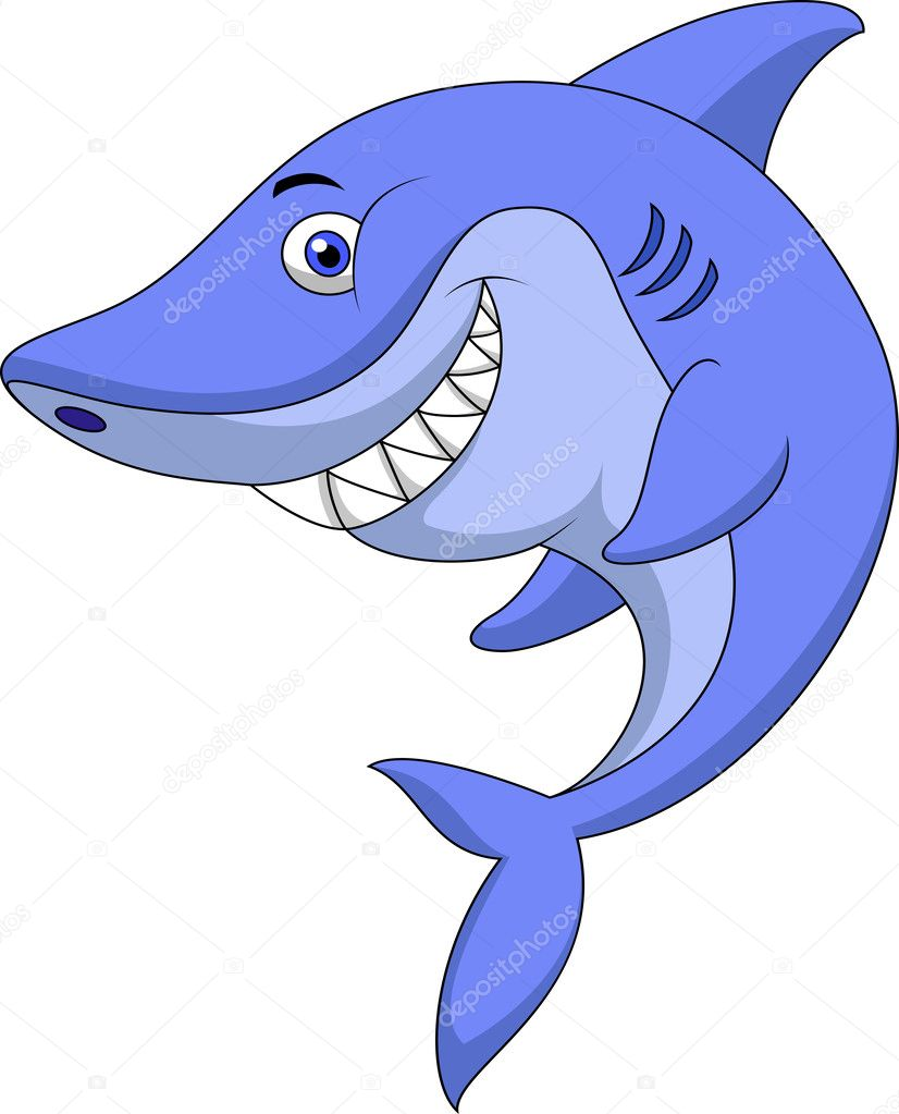 Cute shark cartoon — stock vector tigatelu