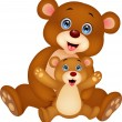 Vector de stock : Mother and baby bear cartoon