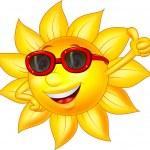 Sun cartoon character with thumb up — Stock Vector #25421275