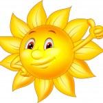 Sun cartoon character with thumb up — Stock Vector #25421281