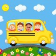 School Bus With Happy Children cartoon — Stock Vector