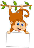 Cute monkey cartoon with blank sign — Wektor stockowy