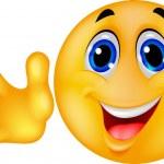 Cute emoticon waving hand — Stock Vector
