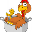 Chicken cartoon in the sauce pan — Stock Vector