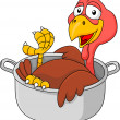 Stock Vector: Turkey in saucepan