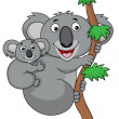 Stock Vector: Mother and baby koala