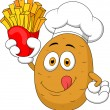 Potato Chef Holding Up A French Fries — Stock Vector