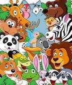 Wild animal cartoon background — Stock Vector
