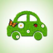 Car icon from grass background — Stock Vector