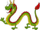 Cute green dragon cartoon — Stock Vector