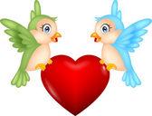 Ptak kreskówka z miłości — Wektor stockowy