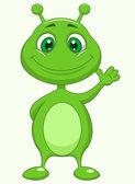 Cute green alien cartoon waving — Stock Vector