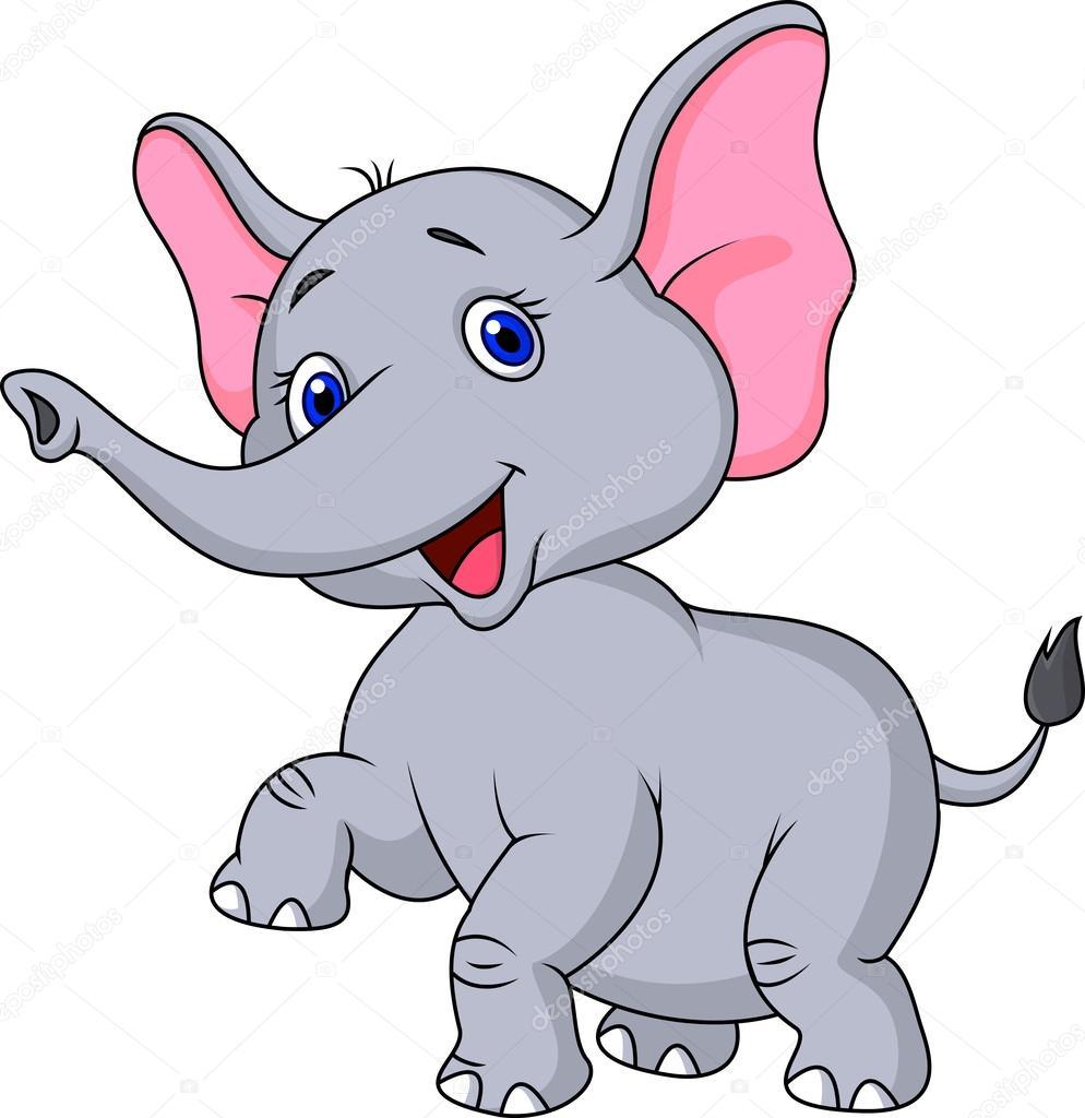 Cute baby elephant cartoon — Stock Vector © tigatelu #27367361