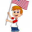 Cute boy with American flag — Stock Vector #27371505