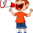 Cute boy with megaphone — Vector de stock #27371541