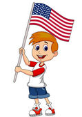 Cute boy with American flag — Stock Vector
