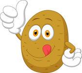 Potato cartoon thumb up — Stock Vector