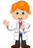 Cute little male doctor waving hand — Stockvektor