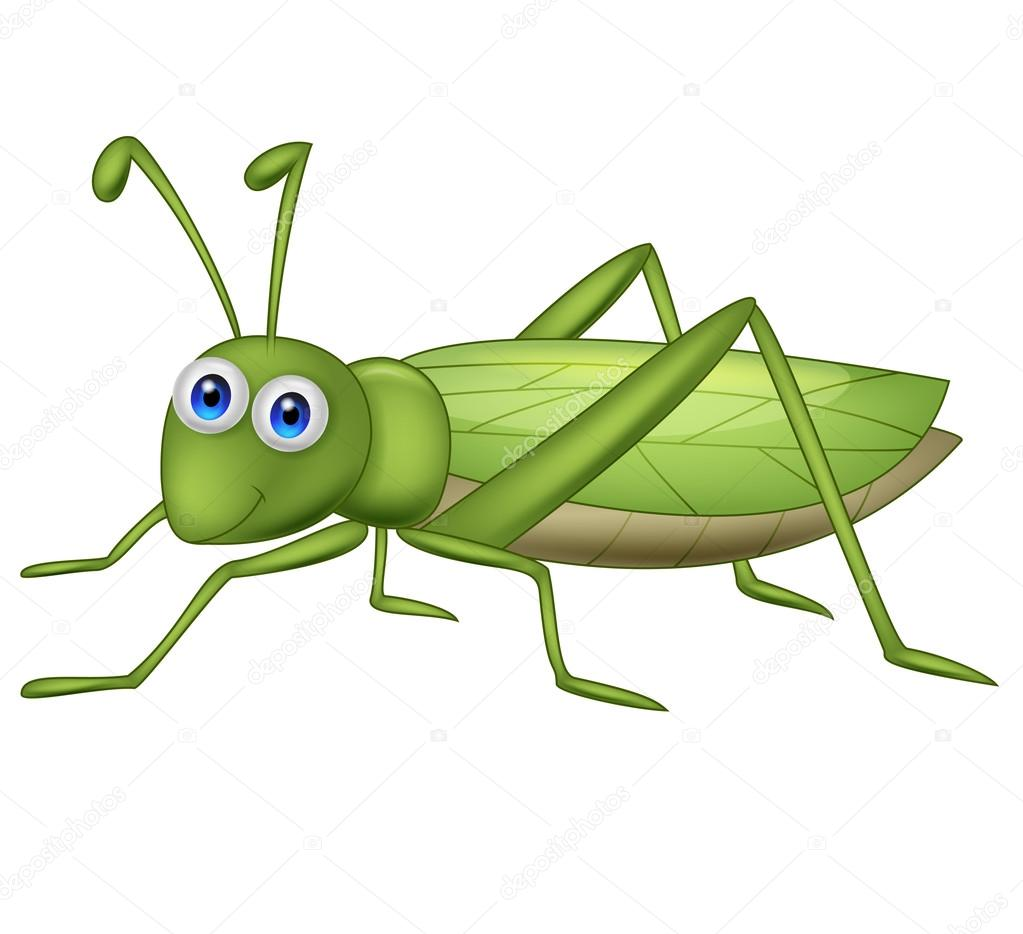 Cute grasshopper cartoon — Stock Vector © Teguh Mujiono #