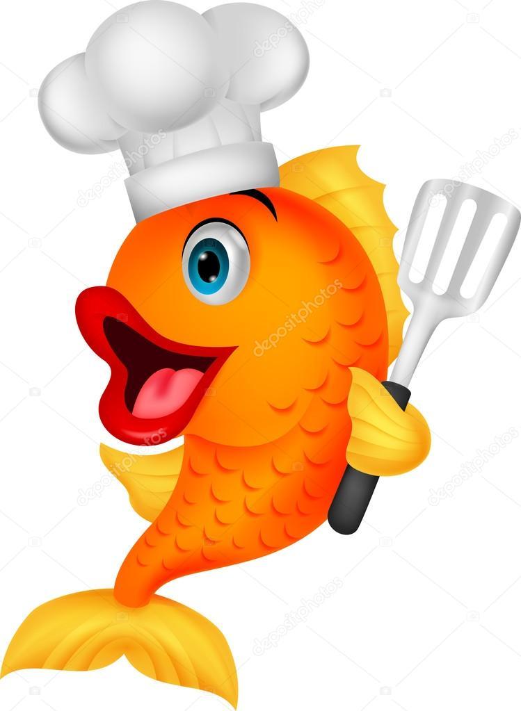 可爱厨师鱼卡通控股铲