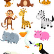 Animal cartoon collection set — Stock Vector