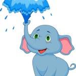 Cute baby elephant cartoon — Stock Vector