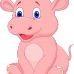 Cute baby hippo cartoon — Stock Vector