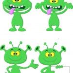 Cute green alien cartoon collection set — Stock Vector