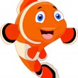 Cute clown fish cartoon — Vector de stock
