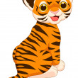 Stock Vector: Cute baby tiger cartoon