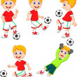 Boy playing soccer collection set — Stock Vector