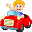 Young boy driving car — Stock Vector #27384763