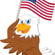 Stock Vector: Eagle cartoon holding American flag