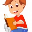 Young boy reading book — Stock Vector #27385267