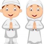 Muslim kid cartoon — Stock Vector