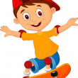 Little boy skateboarding — Stock Vector